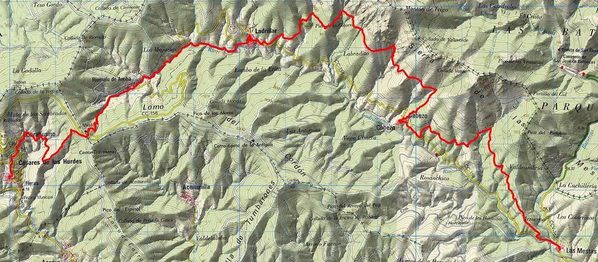 Mapa ruta senderismo Alfonso XIII